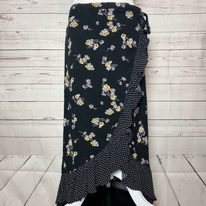 Daisy Ruffled Slit Wrap Maxi Skirt Black Yellow
